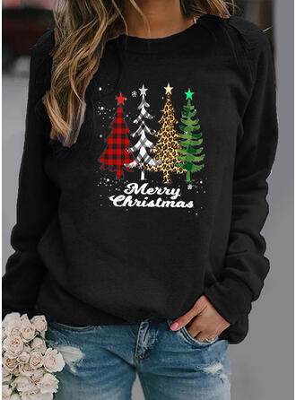 Grid Leopard Figure Round Neck Long Sleeves Christmas Sweatshirt