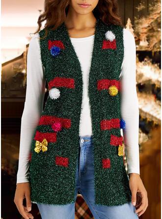 Mulheres Estampado Camisola de Natal Feio