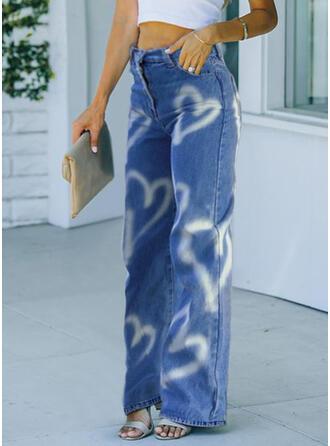 Impresión Corazón Largo Casual Pantalones