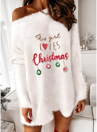 Navidad Impresión/Corazón/Carta Manga Larga Hombro caído Vestidos sueltos Sobre la Rodilla Fiesta Suéter Vestidos