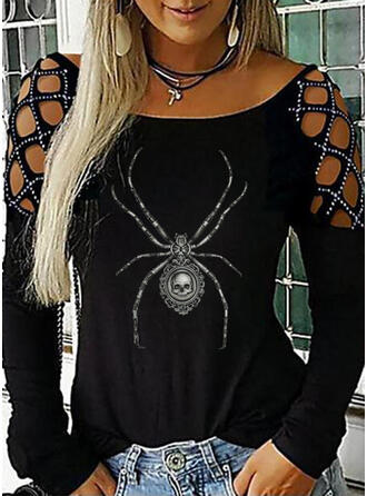 Halloween Animal Print Cold Shoulder Long Sleeves Casual Blouses