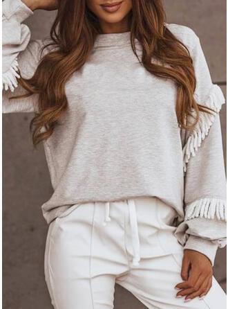 Solid Cotton Round Neck Long Sleeves Sweatshirt