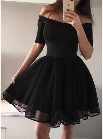 Solid 1/2 Sleeves A-line Above Knee Vintage/Little Black/Party/Elegant Skater Dresses