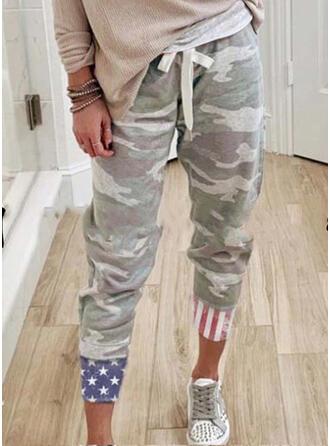Camouflage Drapeau Tricot Tondu Décontractée Sportif Grande taille Cordon Pantalon