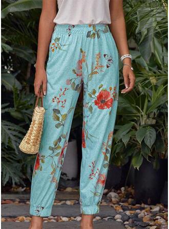 Fleurie Imprimé Longue Décontractée Pantalon