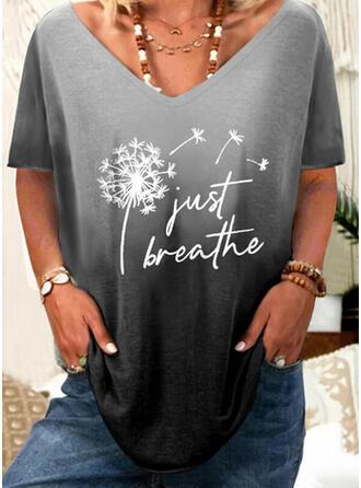 Dandelion Figure Gradient Print V-Neck Short Sleeves T-shirts