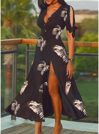 Print Short Sleeves A-line Skater Elegant Midi Dresses