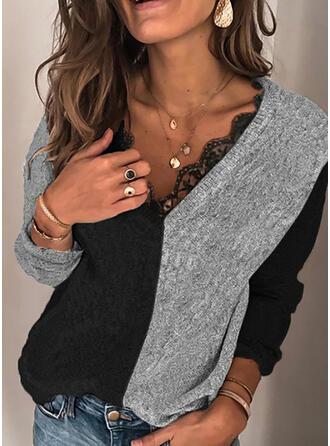 Trozos de color Encaje Cuello en V Casual Suéteres