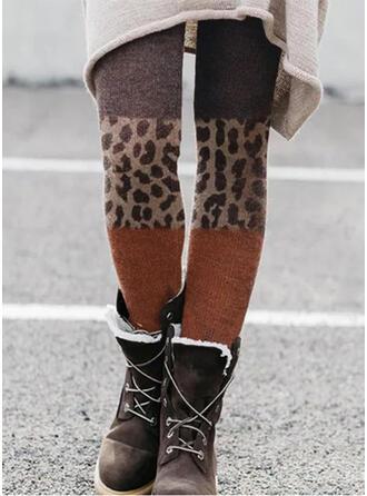 Colorido Leopardo Grandes Sexy Vintage Tamanho positivo splice color Leggings