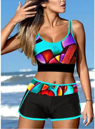 Imprimé Géométrique À Bretelles Col U Grande taille Accrocheur Décontractée Bikinis Maillots De Bain