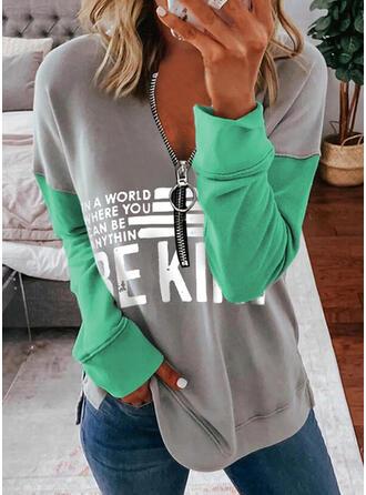Print Color Block Letter V-Neck Long Sleeves Sweatshirt