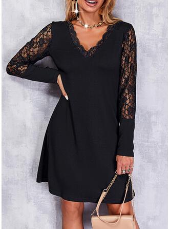Solid Lace Long Sleeves A-line Above Knee Little Black/Elegant Skater Dresses
