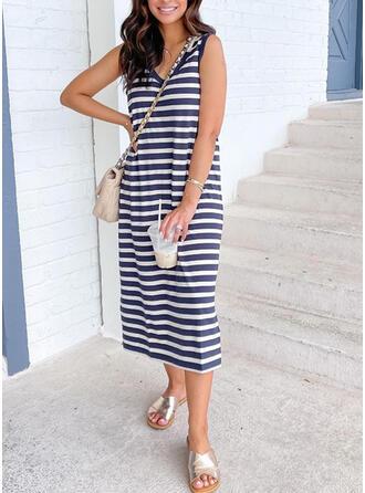 Striped Sleeveless Shift Casual Midi Dresses