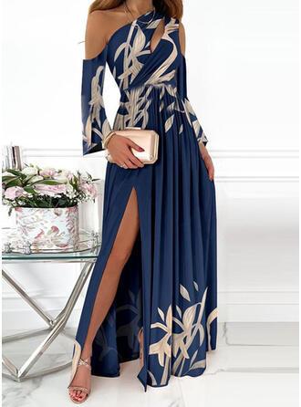 Imprimé Manches Longues manche épaule froide Robe trapèze Patineuse Fête/Élégante Maxi Robes