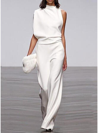 Solid Stand collar Sleeveless Casual Elegant Jumpsuit