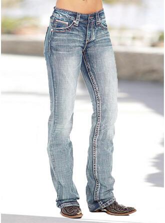 Pockets Shirred Plus Size Long Skinny Denim & Jeans