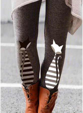 Impresión Animal Largo Casual Pantalones