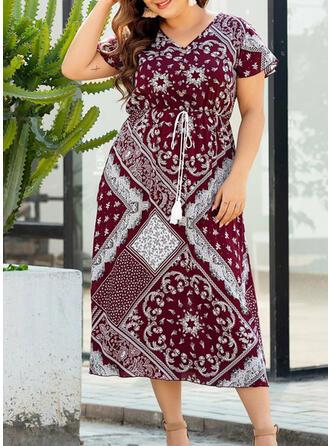 Plus Size Print Short Sleeves A-line Midi Boho Casual Vacation Dress