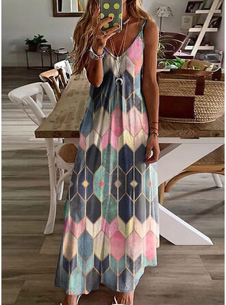 Geometric Print Sleeveless A-line Slip/Skater Casual/Vacation Maxi Dresses