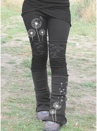 Lace Patchwork Print Plus Size Casual Elegant Tribal Leggings