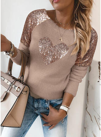 Sequins Heart Round Neck Casual Sweaters