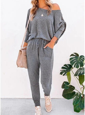 Solid Drawstring Casual Sporty Stretchy Suits