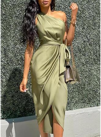 Solid Sleeveless Sheath Party Midi Dresses