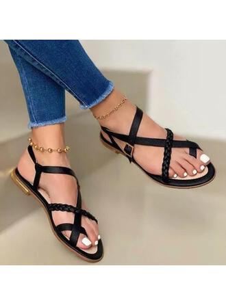 Femmes PU Talon plat Sandales À bout ouvert avec Boucle Couleur unie chaussures