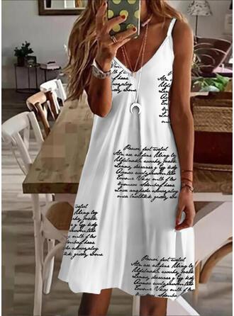 Print/Letter Sleeveless A-line Knee Length Casual Slip Dresses