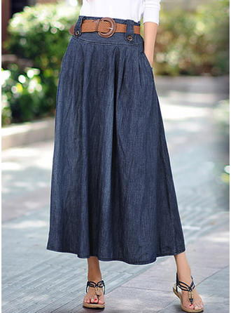 Cotton Plain Maxi A-Line Skirts