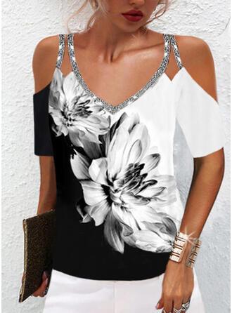 Print Color Block Floral Sequins Cold Shoulder Short Sleeves Cold Shoulder Sleeve Casual Blouses