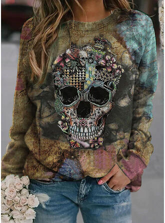 Print Floral Halloween Round Neck Long Sleeves Sweatshirt