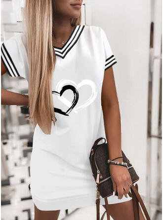 Print/Striped/Heart Short Sleeves Shift Above Knee Casual T-shirt Dresses
