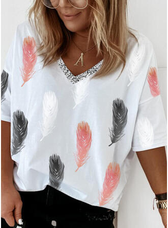 Print Sequins V-Neck 1/2 Sleeves T-shirts