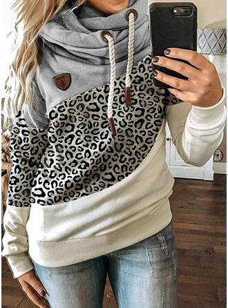 Color Block Leopard Long Sleeves Hoodie