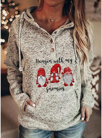 Christmas Print Letter Hooded Long Sleeves Christmas Sweatshirt