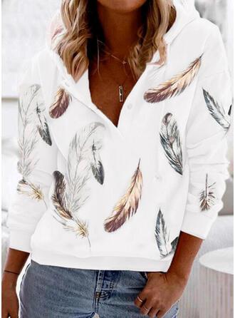 Print Feather Long Sleeves Hoodie