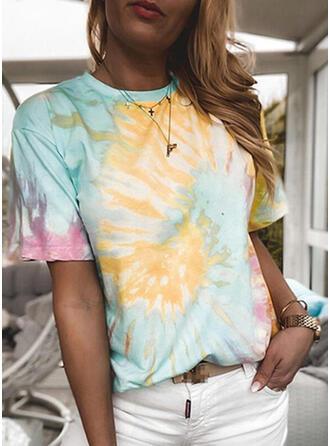 Tie Dye Cuello Redondo Manga Corta Camisetas