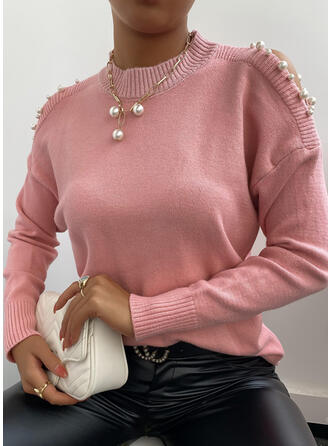 Solid Beaded Cold Shoulder Casual Sweaters
