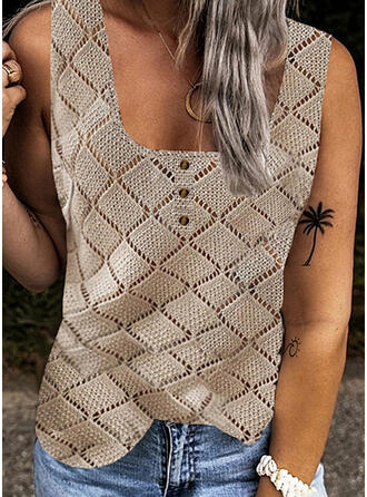 Solid Knit Square Collar Sleeveless Tank Tops