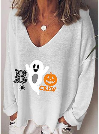 Print V-Neck Long Sleeves Halloween T-shirts