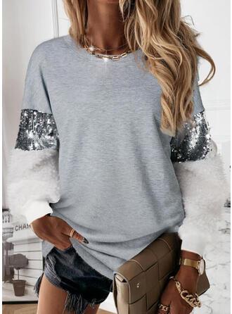 Geometric Sequins Round Neck Long Sleeves Sweatshirt