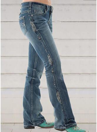 Print Shirred Plus Size Elegant Skinny Denim & Jeans