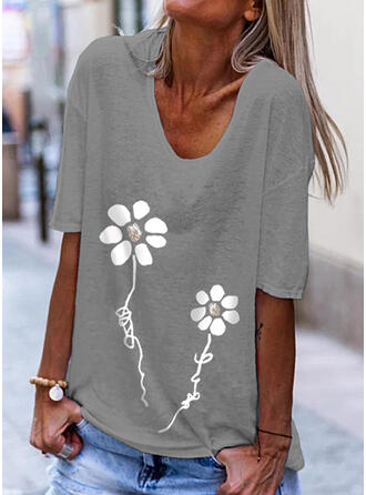 Figure Floral Print V-Neck 1/2 Sleeves T-shirts