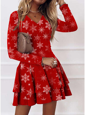 Christmas Print Long Sleeves A-line Above Knee Casual Skater Dresses