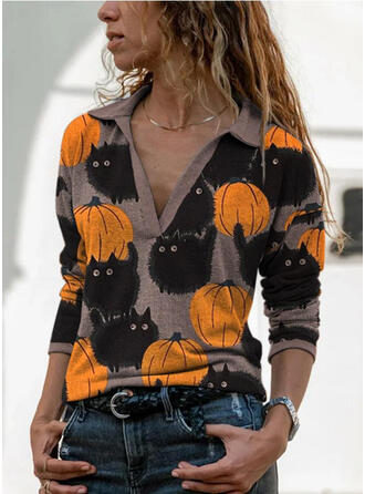 Print Lapel Long Sleeves Casual Halloween Blouses