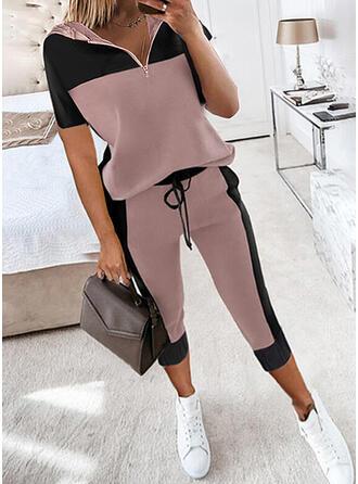 Colorido Casual camisolas & Roupas de Duas Peças Set ()