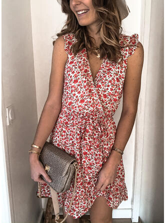 Print/Floral Sleeveless A-line Above Knee Casual/Vacation Wrap/Skater Dresses