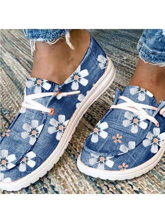 Femmes Toile Talon plat Chaussures plates Low Top Flâneurs avec Dentelle Inmprimé chaussures