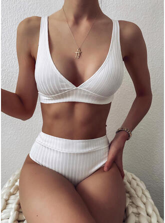 Solid Color Stripe Strap V-Neck Sexy Bikinis Swimsuits
